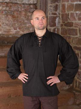 Baumwollhemd mit Kragen schwarz L
