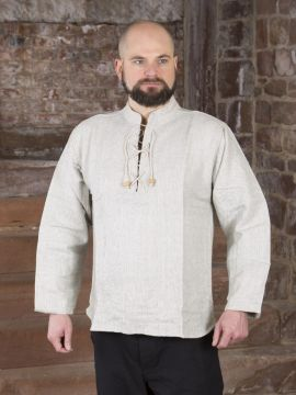 Winterhemd - Stehkragenhemd grau meliert XXXL