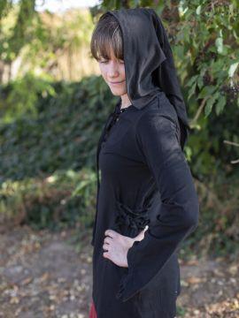 Bluse mit Zipfelkapuze schwarz L