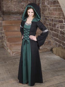 Mittelalterkleid Helena schwarz-grün 34