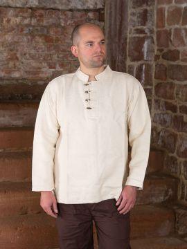 Dickes Stehkragenhemd mit Knopfleiste L | natur