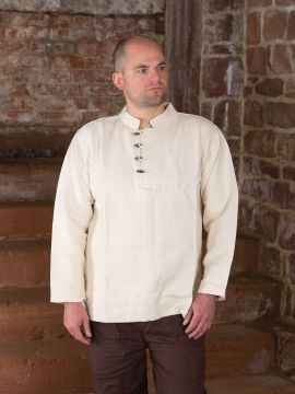 Dickes Stehkragenhemd mit Knopfleiste XL | natur