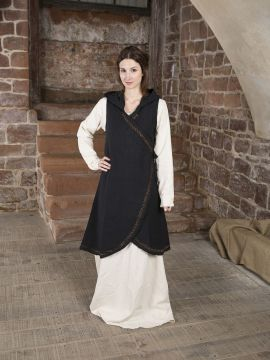 Wickelkleid Dala aus Baumwolle schwarz L/XL