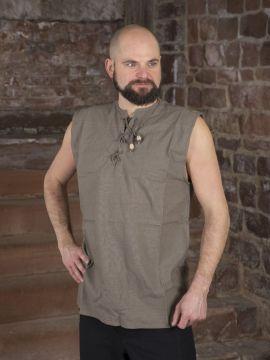 Ärmelloses Hemd ohne Kragen natur XL