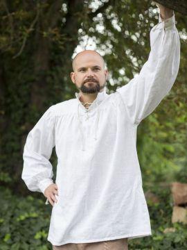 Mittelalterhemd Leinen L | weiß
