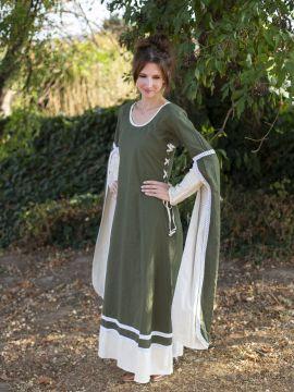 Mittelalterkleid mit Schleppärmeln grün-natur