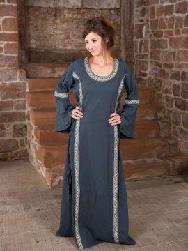 Kleid mit Borte taubenblau S