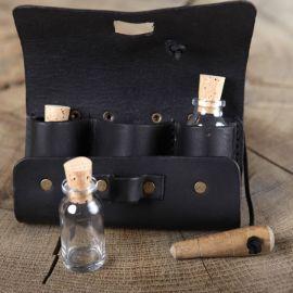 Tranktasche mit 3 Flaschen schwarz