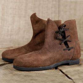 Schuh nach historischem Vorbild (aus Velourleder) 42 | schwarz