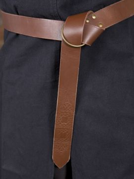 Ringgürtel mit Prägung braun 150 cm