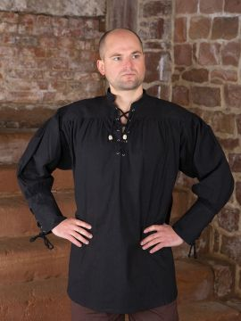 schwarzes Hemd mit geschnürten Manschetten L