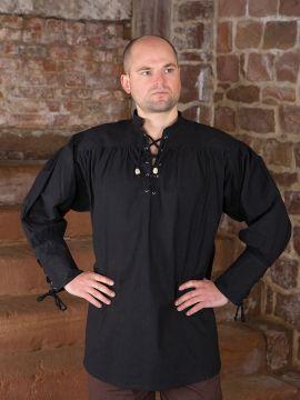 schwarzes Hemd mit geschnürten Manschetten XL