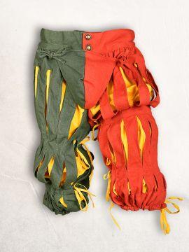 geschlitzte Landsknechthose rot-grün L