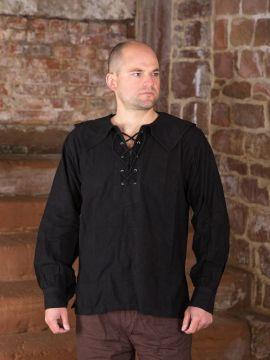 Baumwollhemd mit rundem Kragen schwarz L