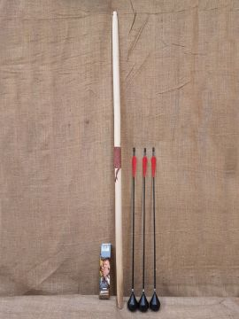 58er Bogen für Larp im Set mit 3 Pfeilen dunkel gebeizt