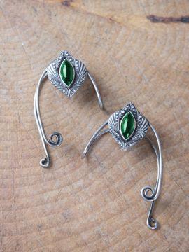 Ohrklemmen mit grünem Stein Beide im Set