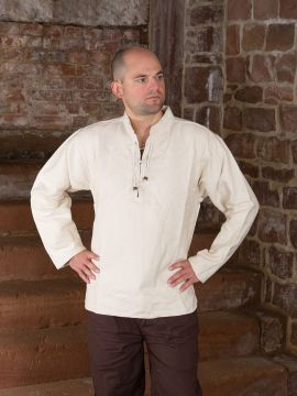 Winterhemd - Stehkragenhemd natur M