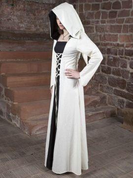 Mittelalterkleid Luna weiß mit schwarzem Mittelteil 34