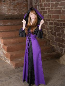 Mittelalterkleid Clara, schwarz-lila 38