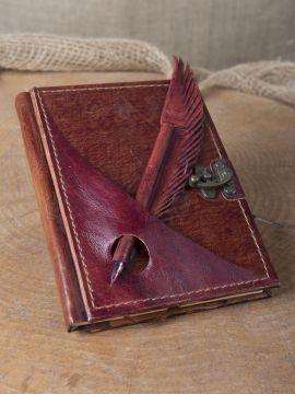 Lederbuch mit Federhalter rot, mittel