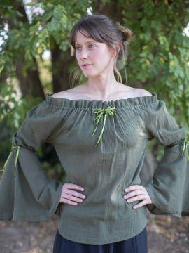 Mittelalterbluse mit Trompetenärmeln olivgrün