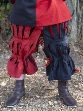 geschlitzte Landsknechthose schwarz-rot S