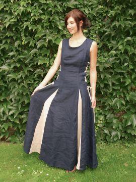 Ärmelloses Leinenkleid blau