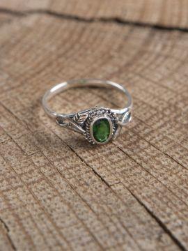 Silberring mit grünem Zirkonia 60