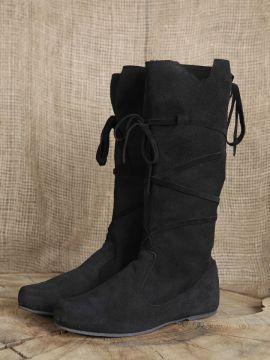 Hohe Stiefel aus Wildleder schwarz