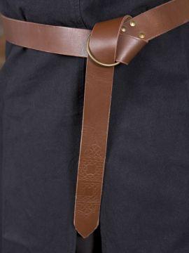 Ringgürtel mit Prägung braun 190 cm