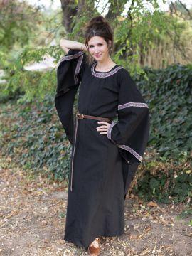 Mittelalterkleid mit Bordüre schwarz 3XL