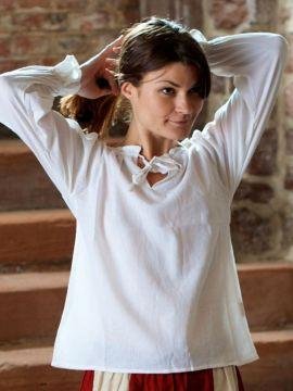 Bluse mit Schnürung L | weiß