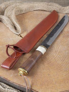 Messer mit Holzgriff u. Lederscheide