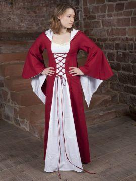 Mittelalterkleid Dorothea rot-weiß 48