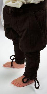 Kinderhose mit Beinschnürung braun XXS