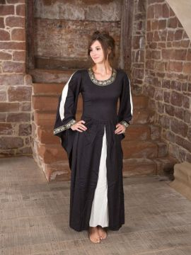 Edles Kleid mit Bordüre schwarz-natur XXL