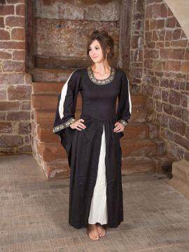 Edles Kleid mit Bordüre schwarz-natur L