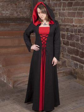 Mittelalterkleid Luna in schwarz-rot 40