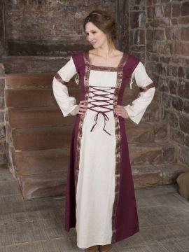 Mittelalterkleid mit abnehmbaren Ärmeln rot-natur XXL