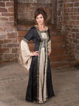 Mittelalterkleid mit Kapuze in schwarz-natur S/M