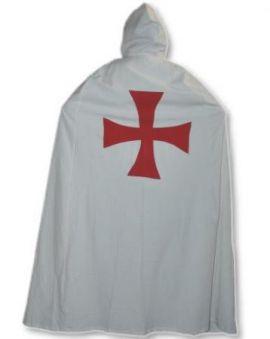 Umhang / Mantel der Ordensritter Tempelritter (weiß mit rotem Kreuz)